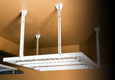 Diy metal overhead storage racks by slide lok of albuquerque garage overhead storage solutioingenieria Image collections